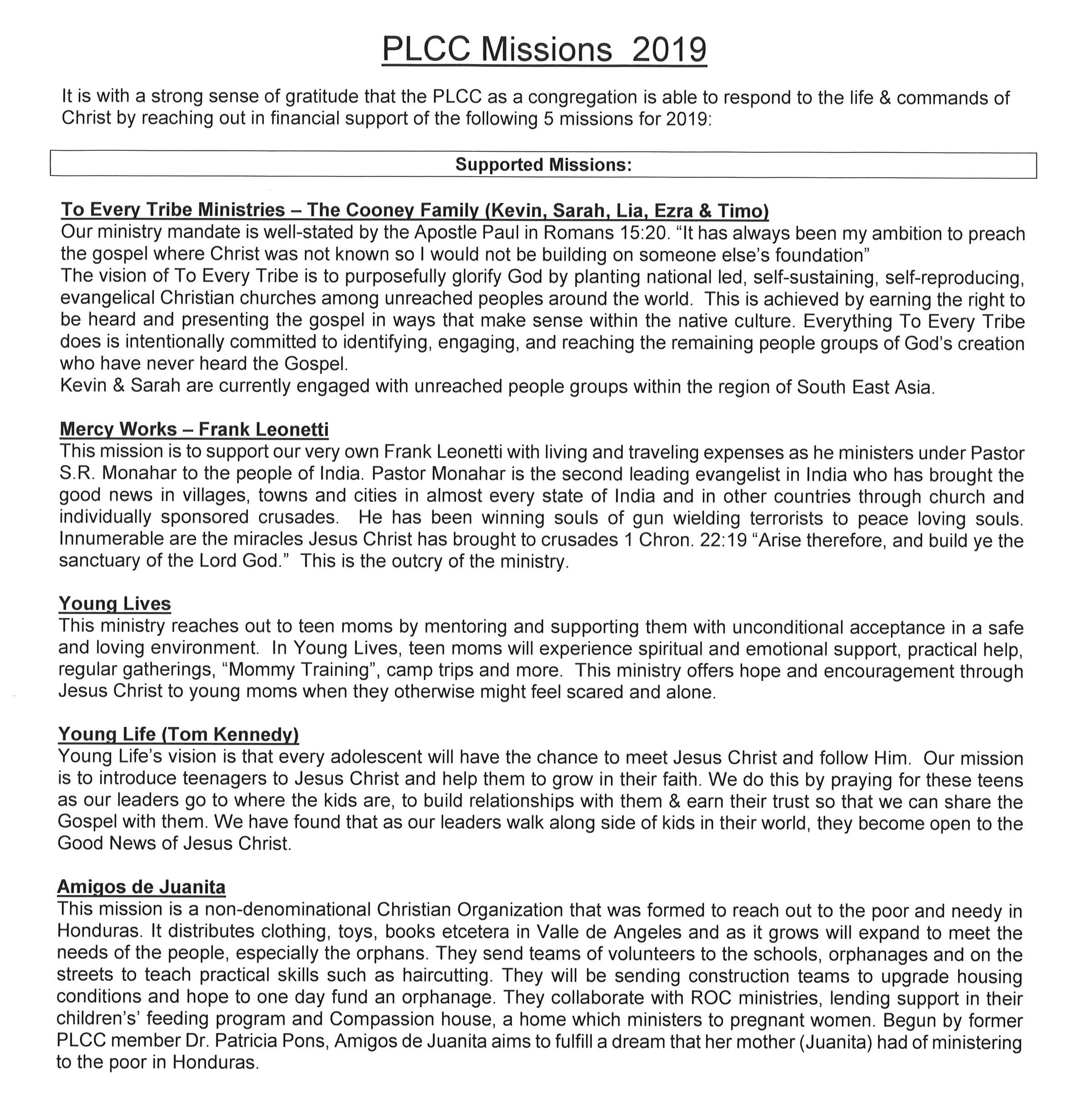 PLCC 2019 Missions