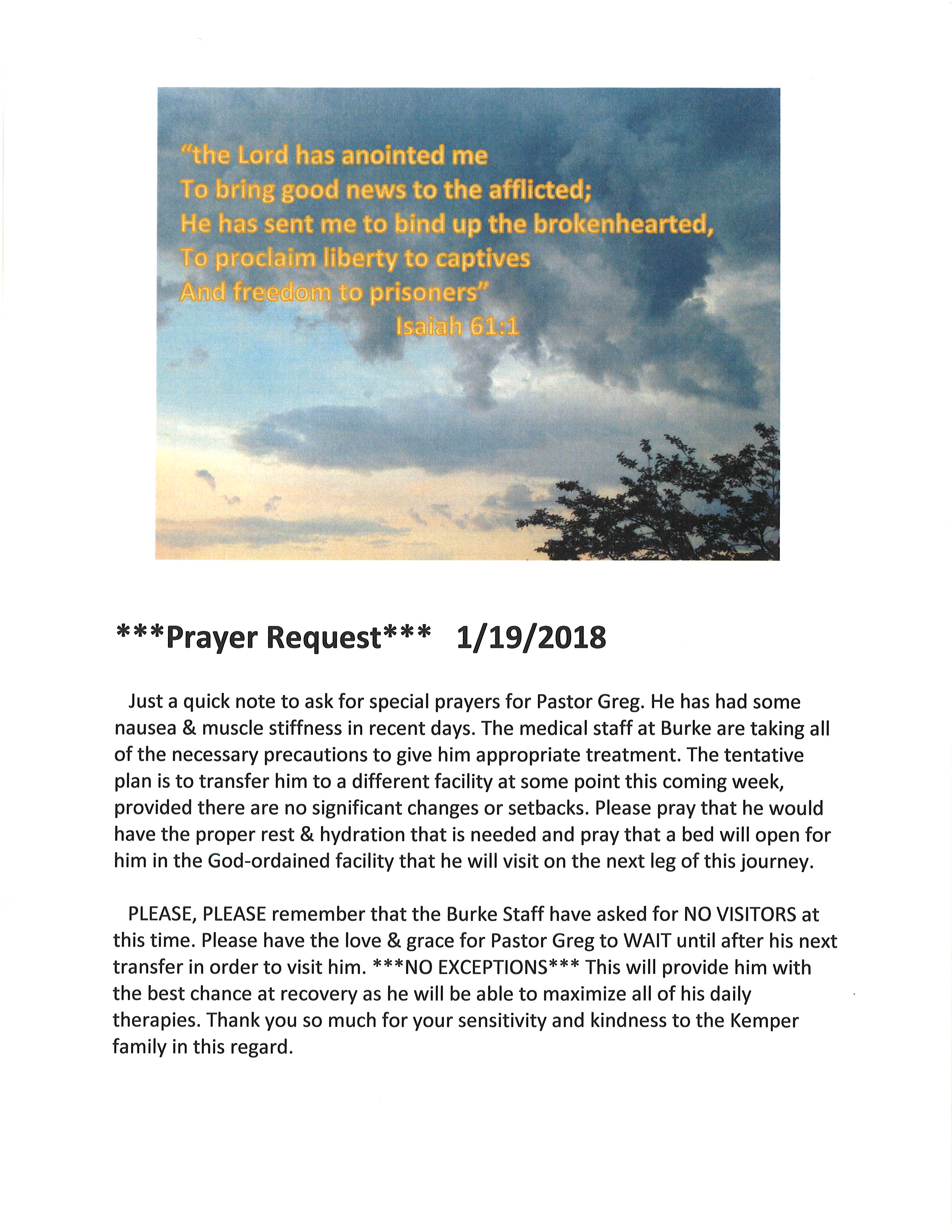 Pastor Greg Update, Jan 19, 2018
