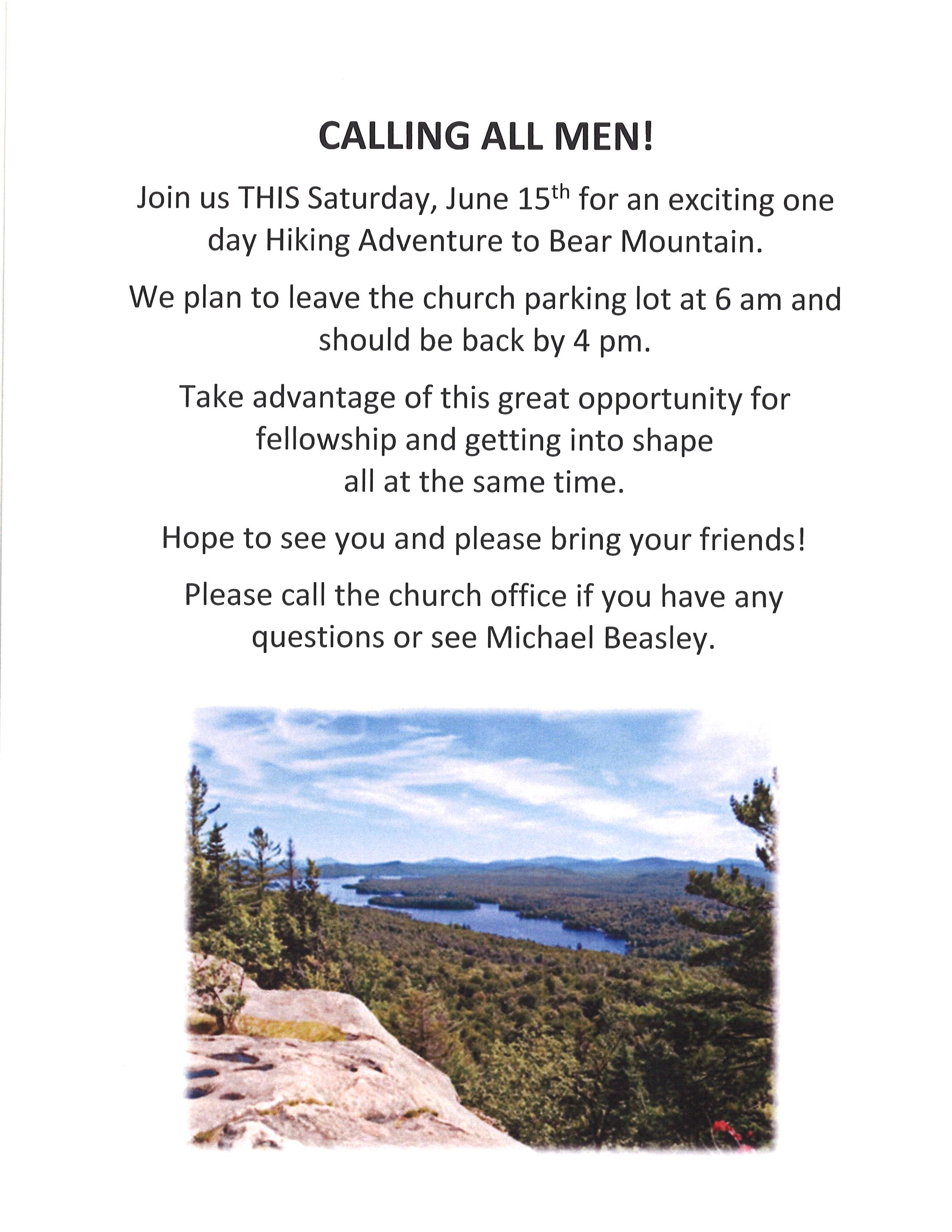 Mens Hiking Trip June 15, 2019